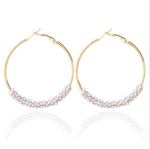Femmes Bijoux fait main perles de rocaille Boho Earring Hoop Round Boucles D/'oreilles Clous