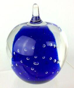 Paperweight-Apple-Shaped-Cobalt-Blue-Art-Glass-Hand-Blown