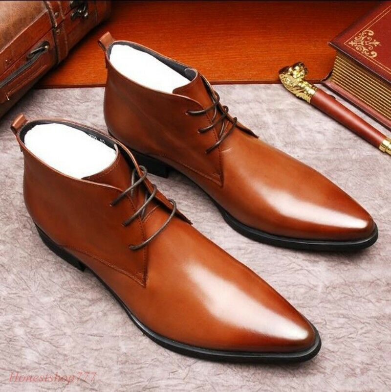Men High Top Pointy Toe Retro Leather Dress Formal shoes Lace Up Ankle Boots Hot