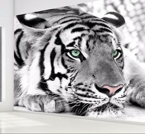 Charmant Image Is Loading 3D Black White Tiger Animal Wallpaper Mural Bedroom