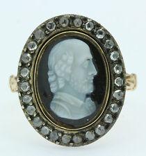 Un 2ct ROSE Cut Diamond & HARDSTONE anello con Cameo di William Shakespeare circa 1800s