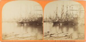 FRANCE-Le-Vieux-Port-Marseille-Photo-Stereo-Vintage-Albumine-ca-1865