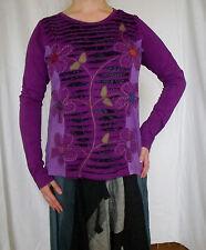 Sweatshirt Langarmshirt Pulli Stickerei Baumwolle Patchwork Indien Goa Lila