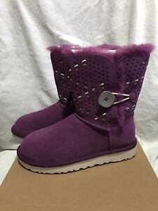 6c92fd61d53 Details about NIB UGG BAILEY BUTTON TEHUANO BOOTS, SUEDE/SHEARLING, PURPLE  PASSION WOMEN'S US6