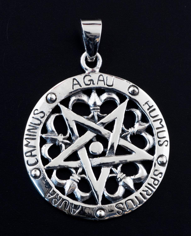 Pendentif pentacle heraldique bijou ésotérique pentagramme silver 925 8g6  25448
