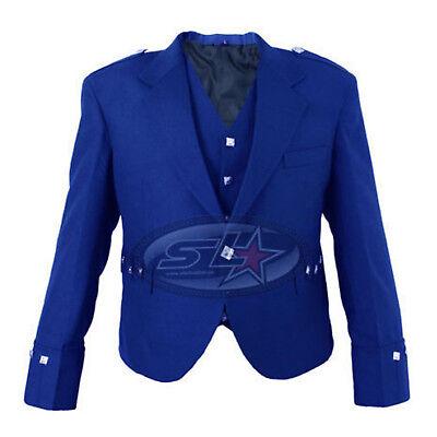 Brand New Boys & Mens Royal Blue Scottish Argyle Kilt Jacket & Waistcoat/vest
