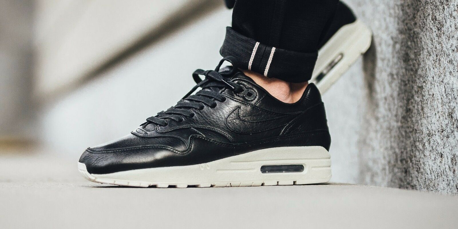 NIKELAB AIR MAX 1 PINNACLE BLACK SAIL  LEATHER 859554-003 NIKE MENS Price reduction Great discount