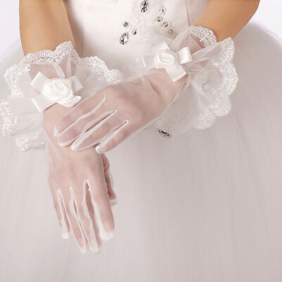 1 Pairs Wrist Length Flower Lace White Finger Bridal Wedding Party Prom GlovesJH
