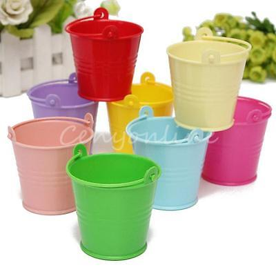 10x Mini Cute Bucket Colored Wedding Party Favour Keg Box Gift Pails Candy Lolly