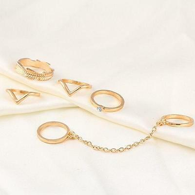 6pc /Set Leaf Knuckle Mid Finger Tip Stacking Chain Rings Party Women Ring