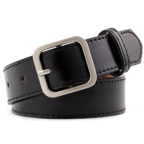 Men Women Faux Leather Adjustable Wide Waistband Small Square Buckle Casual Belt