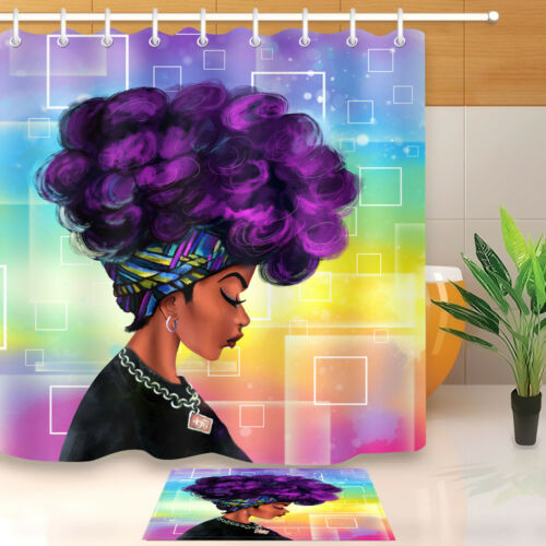 """Afro Hairstyle Woman African Black Girl w// Purple Hair Shower Curtain Liner 72/"""""""