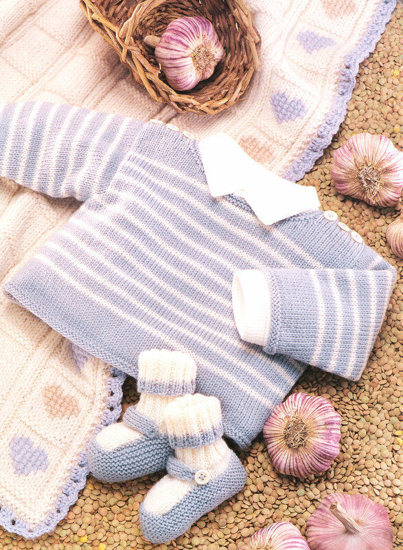 Baby Stripe Sweater Bootees & Heart Blanket 2 - 6 years Knitting ...