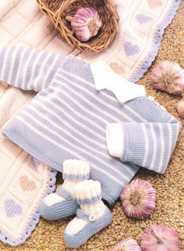 Baby Stripe Sweater Bootees /& Heart Blanket 2-6 years  Knitting Pattern