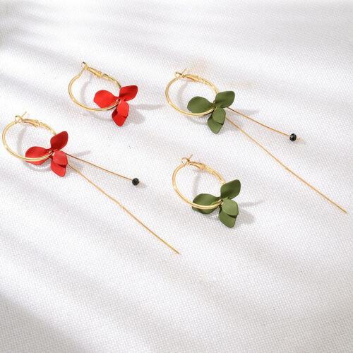 Women Bohemia Earrings Petal Pendant Drop Dangle Ear Hoop Earring Jewlery 8C