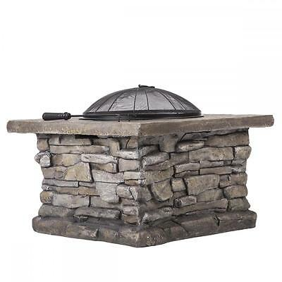 "29"" Outdoor Patio Firepit w/ Matte Steel Fire Bowl Stone Base Spark Screen 19R"