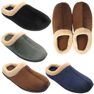 Mens-Textile-Winter-Warm-Fleece-Slippers-Comfort-Casual-Slip-On-Shoes-Sizes-6-11