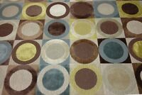 34370 Clarence House Turandot Brown Circle Linen Velvet Fabric By The Yard 52w
