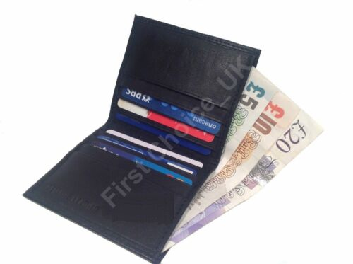 Mens Wallets Note case Real Leather Slim Credit Card Holder Wallet Purse Black
