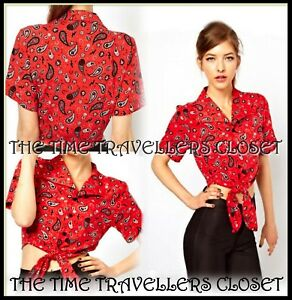 Blouse Fred Red Paisley Winehouse Bandana Uk Tie Crop Shirt Amy 12 Perry Bnwt 14 qzCwdxUU