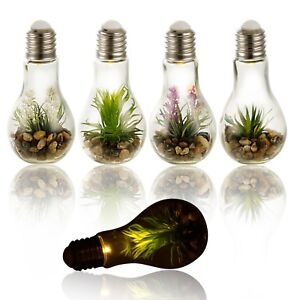 Led Light Artificial Plant In Hanging Glass Bulb Pot Decor Lighting