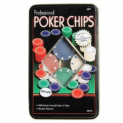 New Professional Poker Chips Set Of 100 Chips IN A TIN CASE Poker Chips 100 PCs