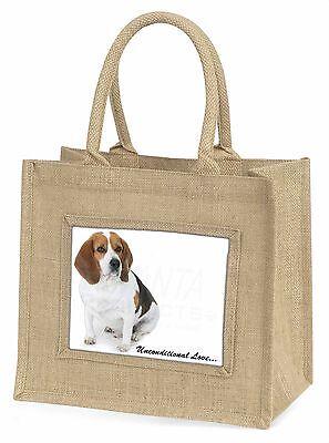 Beagle Hund 'Unconditional Love' Große Natürliche Jute-einkaufstasche Chr,