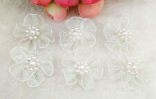10pcs Organza Ribbon Flowers Bows Pearl For Sewing Appliques Wedding  White