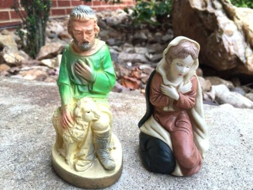 LOT of 2 Mother Mary & LORD Is my SHEPERD Jesus Lamb ANTIQUE CHALK WARE Nativity