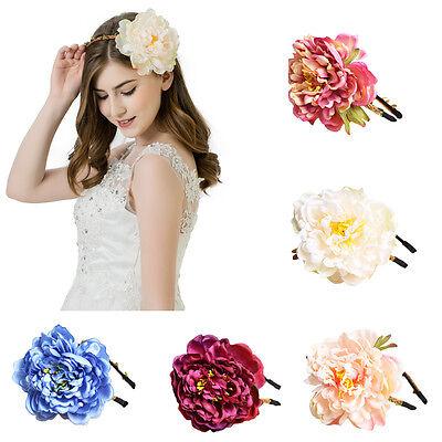 Ladies Wedding Peony Flower Headband Braid Crown Floral Garland Hairband Beach