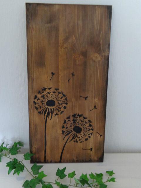 Holzbild Wanddeko Motiv Pusteblume Schild Holzschild vintage neu