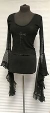 Raven Gothic Black Cross Mesh Top With Morticia Sleeves 10/12