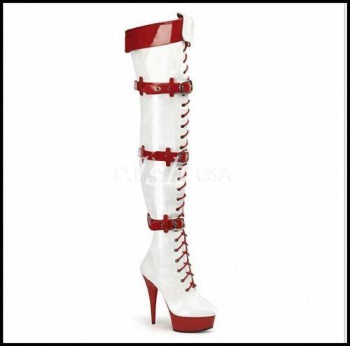 Women/'s Nightclub Knee High Boots Stilettos Buckle Belt Cosplay Pole Dance Shoes