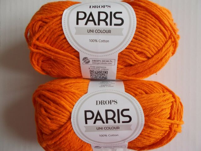 82 yds each Drops Paris Uni Colour 100/% cotton yarn lot of 2 Dark Purple
