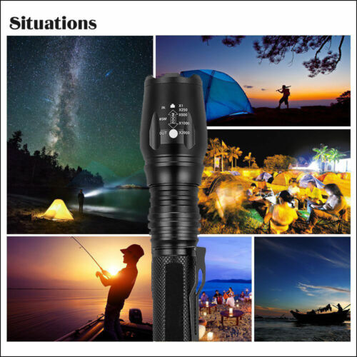 Tactical 20000LM Zoomable Focus LED T6 High Power Flashlight 18650 LED Torch F