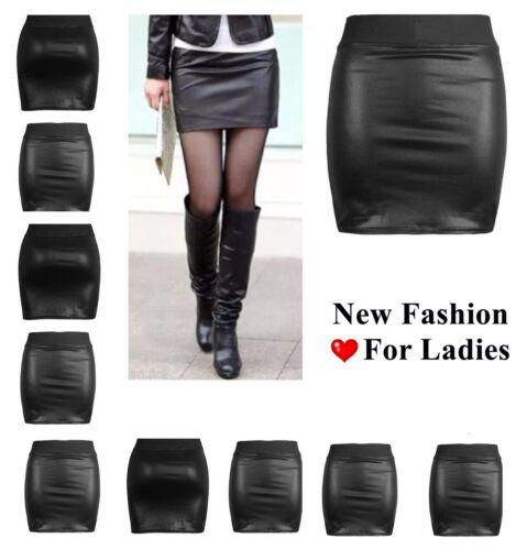 NEW WOMENS BLACK PVC WET LEATHER LOOK MINI PENCIL TUBE BODYCON SKIRT*WtSw