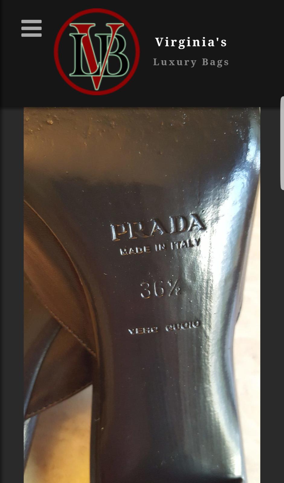 Prada de Zapatos de Prada Tacón Gatito Negro Talla 6.5 5bda05