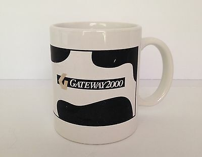 Gateway 2000 Coffee Mug Cow Print PC Computers Technology Cup Silicon Valley VTG