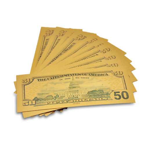 10PCS Gold Foil Color Printing American 50 Dollar Currency Gold 50 Denomination