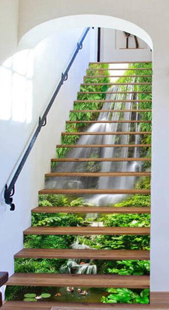 3D Stream Grün 42 Stair Risers Dekoration Foto Mural Vinyl Decal Wallpaper UK