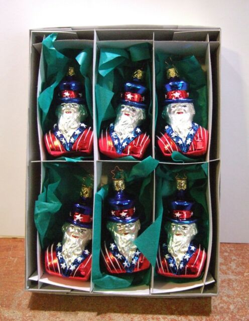 Old World Christmas Inge Glass Ornaments Uncle Sam (Set of 6) Patriotic NIB