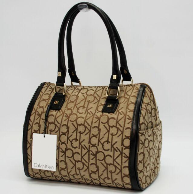 Calvin Klein Authentic Brown Khaki Ck Signature Satchel Bag Handbag Purse Nwt