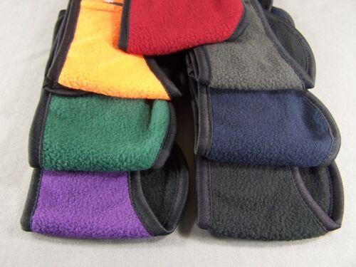 Dark Red Black reversible fleece ear muffs head wrap warmers ski adjustable