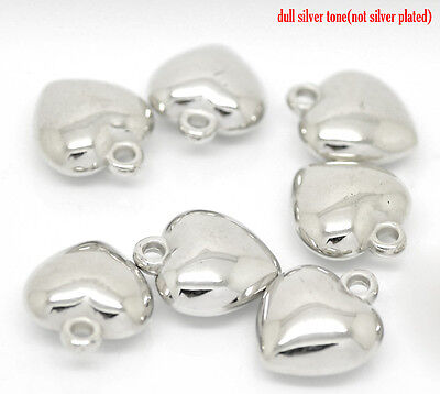 20 SILVER TONE PUFFED HEART CHARMS/PENDANTS 18mm x 20mm JEWELLERY CRAFTING (81A)