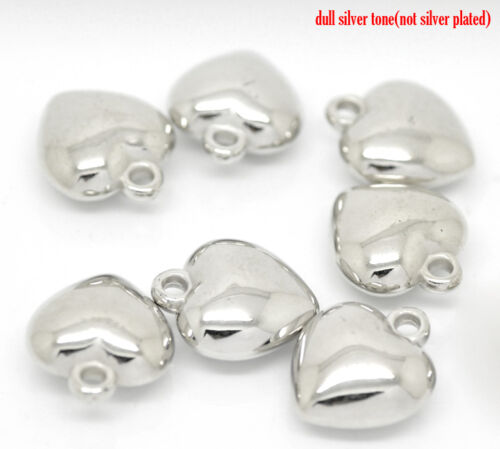 50 SILVER TONE CCB PUFFED HEART CHARMS//PENDANTS 14x11mm JEWELLERY CRAFTING 17F