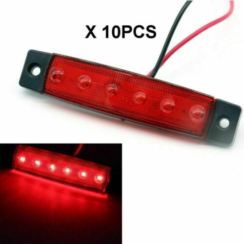 10 X Set Red 6 LED Side Marker Lights Position Recovery For Truck Trailer Lorry