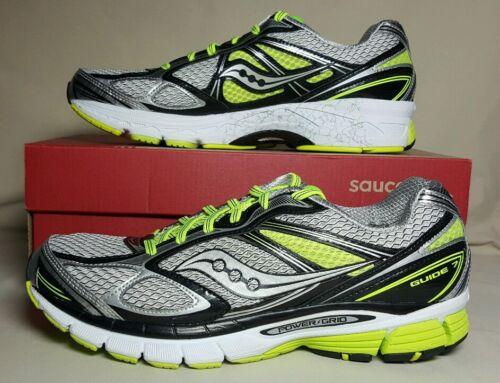 SAUCONY MEN/'S GUIDE 7 RUNNING WHITE//BLACK//CITRON NEW//BOX S20227-5 MULTIPLE SIZES