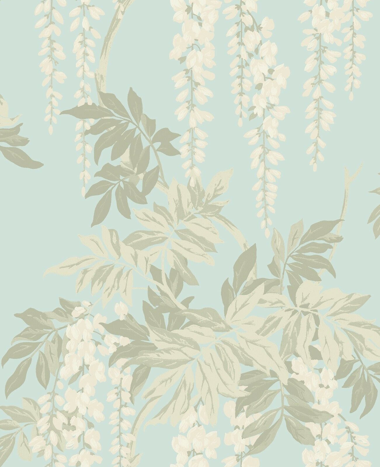 Blue Floral Wallpaper White Flowers Wisteria Vintage Style