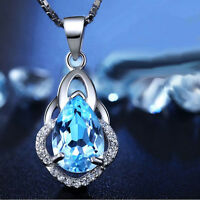 Crystal Topaz Pendant 925 Sterling Silver Necklace Chain Women Ladies Jewelry