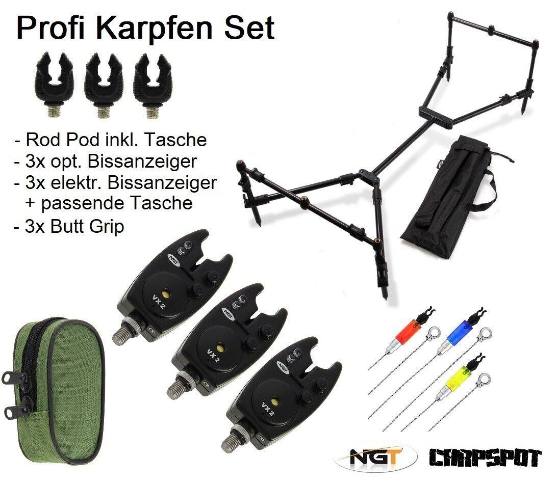 Karpfenangel Rod Pod + Indicadores Mordedura Electrónicos Set